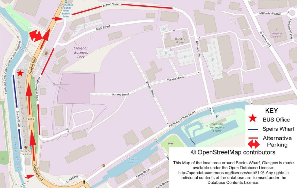 Parking map for Speirs Wharf